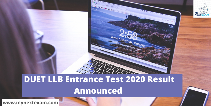 DUET LLB Entrance Test 2020 Result  Announced