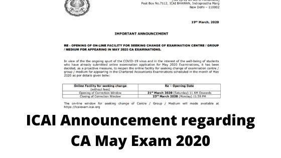 ICAI Announcement regarding CA May Exam 2020
