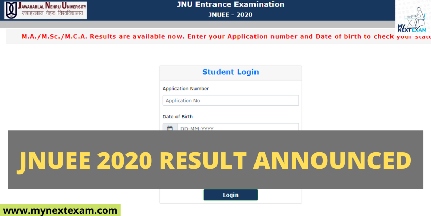 JNUEE 2020 Result Announced