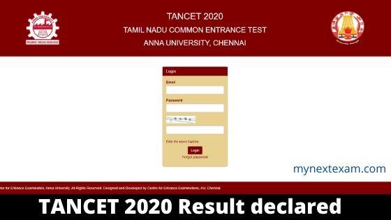 TANCET 2020 Result declared